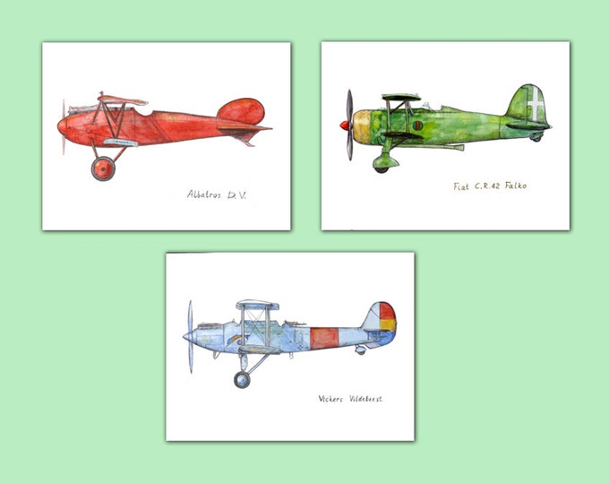 Airplane Nursery decor Set 3 prints Military aircraft print Boy's art Airplane painting Aviation art Retro avia Boy's nursery wall art