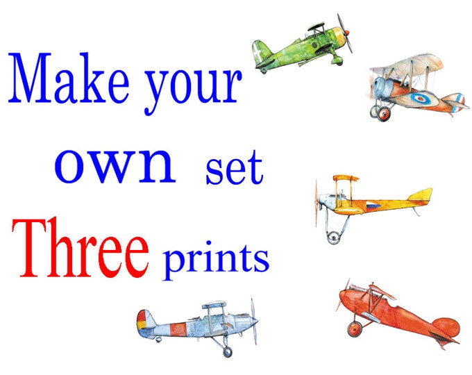 Airplane decor set of THREE prints Custom choice posters Vintage airplanes art for boys Boys nursery wall art Military style Transportation