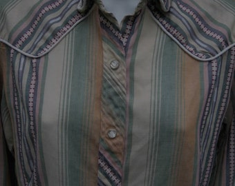 Vintage Miss Fashionality 1960's 1970's Striped Western Blouse Shirt Size Medium Large - Retro Snap Button Front Permanent Press
