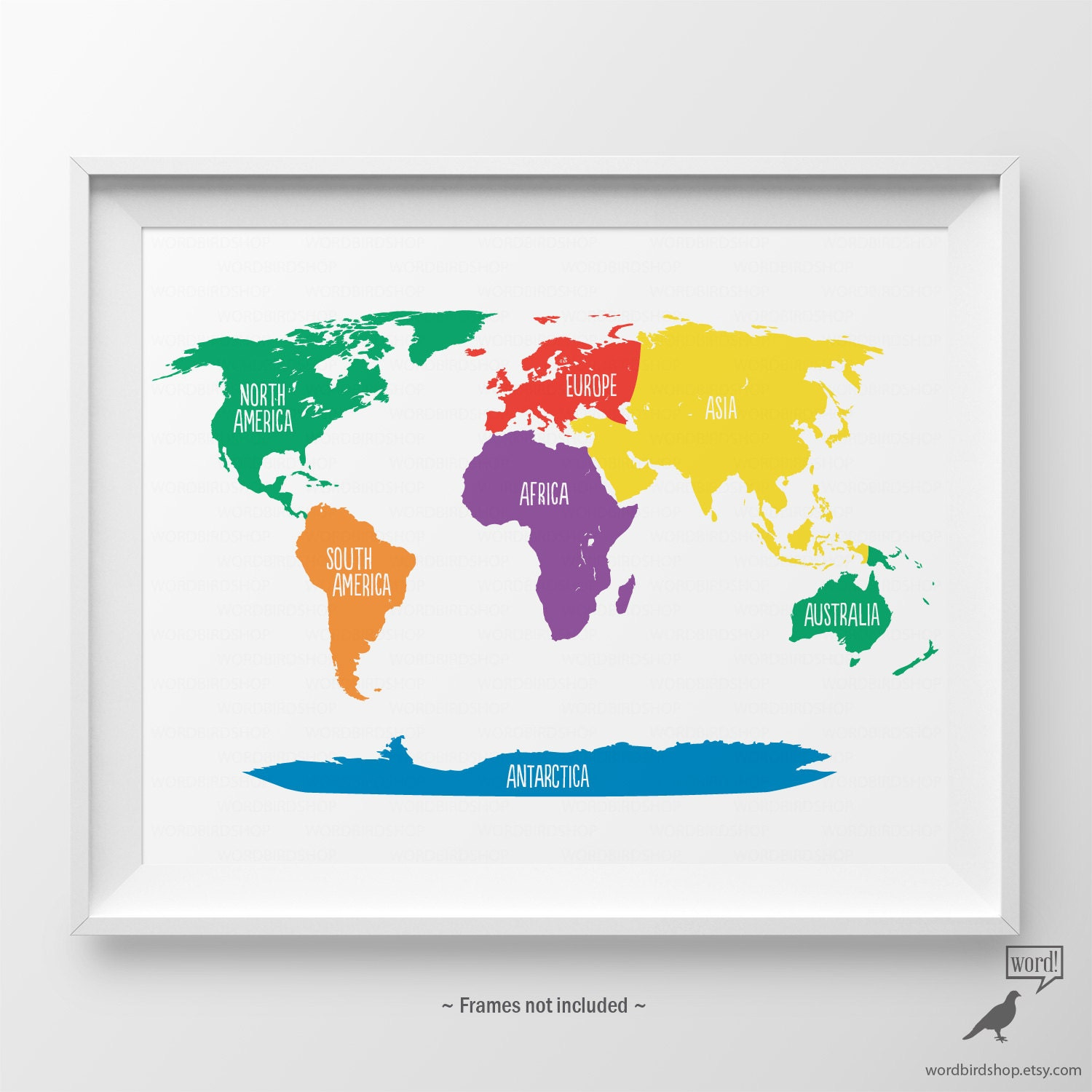 Primary Colors Nursery World Map Kids Wall Art Playroom