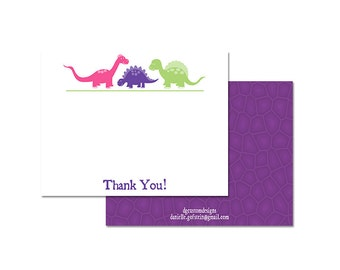 GIRLS DINOSAUR party THANK You Note, pink, purple, green, blue, digital file or professional printing available