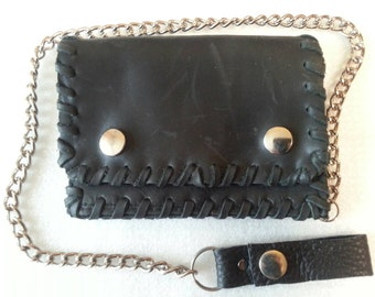 wallet with chain, pull-up leather