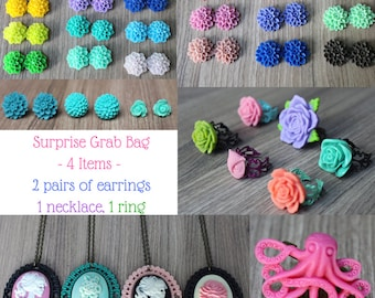 Surprise Grab Bag - 4 Items - Mystery Listing - Surprise Gift - Rose -Flower Earrings -Gift for Her - Cute - Floral -Random -Adjustable Ring