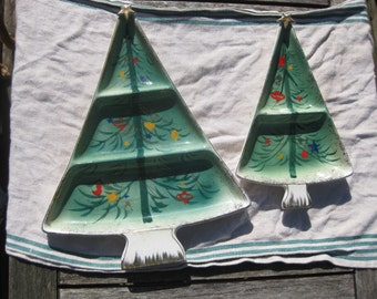 Vintage Christmas Tree Serving Trays