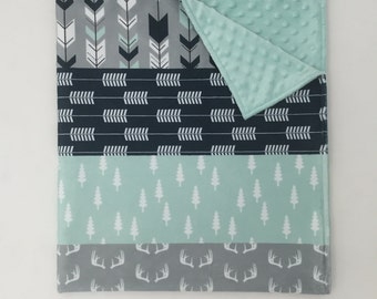 Striped Minky Blanket - Navy, Mint, and Grey Trees, Antlers, and Arrows