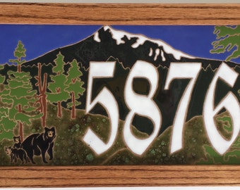 Bear (or deer) and Mountain address tile