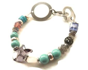 Joy-beaded gemstone bracelet-Swarovski Crystal Bracelet-Swarovski Pearl Bracelet-antique silver bracelet-boho bracelet-jade-purple-pink-UK