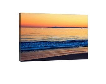 Sunset photography canvas art - Ocean canvas print. Blue orange peaceful sunset. California wall art- California beach sunset print