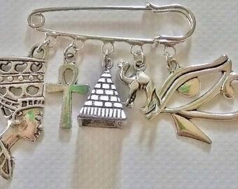 Egyptian kilt pin brooch~Eye of Horus~Camel~Pyramid~Queen Nefertiti~Egypt gift~India themed brooch