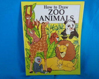 vintage How to Draw Zoo Animals book by Jocelyn Schrelber