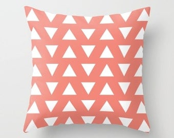 Triangles Pillow with insert - Geometric Pillow with insert - Coral and White Triangles Pillow with insert - Decorative Pillow -