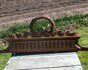 Vintage Gorgeous Hand Carved Wooden Pediment Overdoor Guirlande