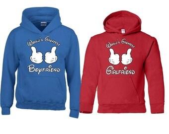 Couple Hoodie Worlds Greatest Boyfriend Worlds Greatest Girlfriend Matching Sweatshirts Love Couple Hoodie Fast Prior ---- BLUE-RED