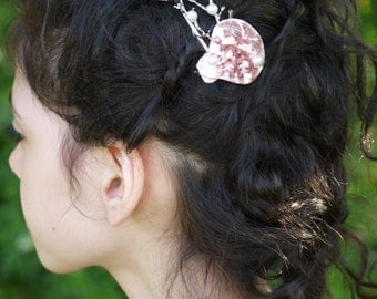 Silver Seashell hair clip,mermaid hair clip,seashell hair accessories,under the sea hair clip,Pearl hair clip,seashell Barret,beach wedding