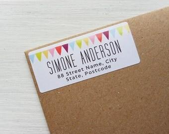30 Custom Return Address Labels Bunting Banner Personalized Address Stickers / 906
