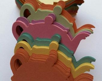 Pastel Colored Adorable Tea Pot Die Cut Outs ( Scrap Booking, Embellishments, Decoupage)
