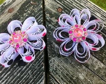 Pink Polka Dot Sculpted Flower Bows With Pink Bling. Pink/Polka Dot/Bling