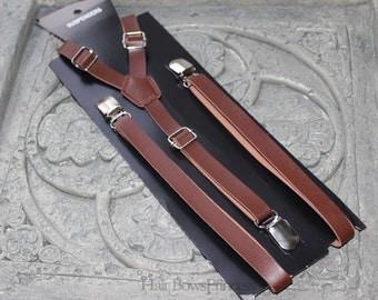 """Vintage Pu Leather Adjustable Suspenders y-back,dark brown,Wedding man,adult,woman,skinny, 1/2"""" width,Christmas"""