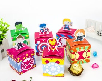 Avengers Superhero Favor Boxes Candy Boxes Kid Birthday Party Decoration Baby Shower Iron Man/Hulk/Captain America/Thor/Hawkeye/Black Widow