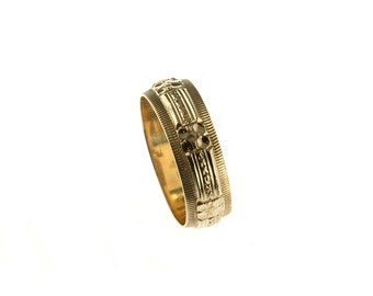 14K Yellow Gold Wide Wedding Band