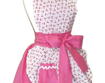 Pink Pin Up Retro Cherry Apron  Pinup 50s Rockabilly Apron Pink & White Cherries Apron Womens M L Medium Large