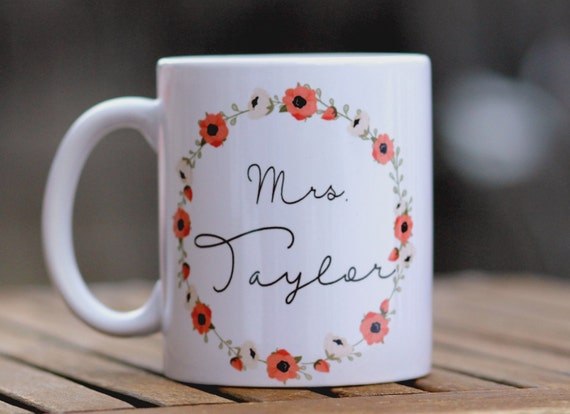 Personalized coffee mug, engagement gift, brides gift, wedding day ...