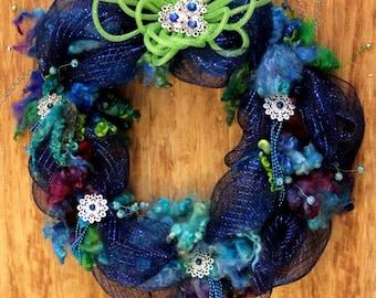 WREATH - Door Wreath, Home Decor, Gift, (Entitled - Blue Moon)