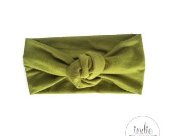 Olive Green Knotted Turban Headwrap / Green Knot Tied Headbands / Newborn Baby Girl Kids Women Children Adult / Photo prop Headwraps Turbans