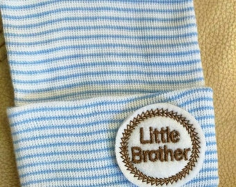 A Best Seller! Newborn Hospital Hat. Now w/blue and Brown LITTLE BROTHER Applique.  Every New Baby Boy Should Have! Adorable!