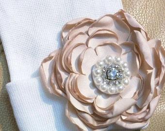 Solid White Newborn Hospital Hat w/ Tan Silk Flower w/ Rhinestone and pearls on it! Hospital Beanie. aDOrABle!