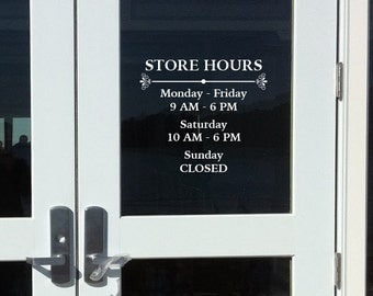 Business Hours Decal Etsy - Window decals for business hours