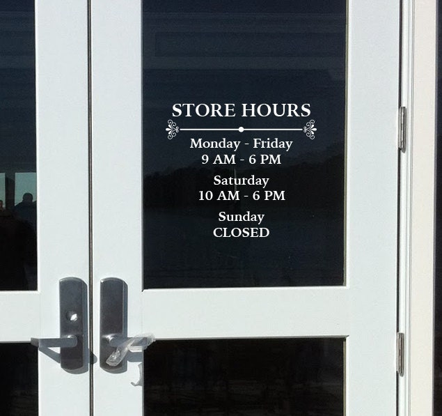 Store Hours Custom Window Decal Vinyl Door Decal Business - Window stickers for business hours