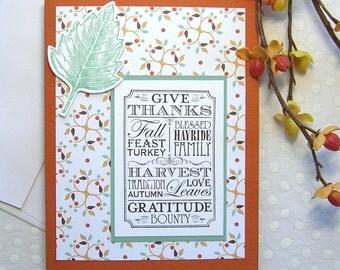 Happy Thanksgiving Greeting Card, Handmade, Autumn, Leaves, Green, Brown, Ochre