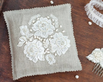 wedding ring pillow pillow cushion with lace and beads embroidery silver wedding ring pillow