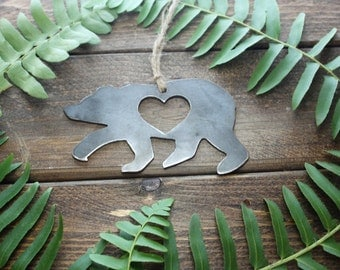 Bear Love Rustic Christmas Ornament Metal Heart Christmas Tree Decoration Holiday Gift Industrial Decor Wedding By BE Creations