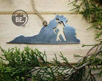 Virginia Hiker Christmas Ornament VA Metal State Heart Christmas Tree Ornament Holiday Gift Industrial Decor Wedding Favor By BE Creations