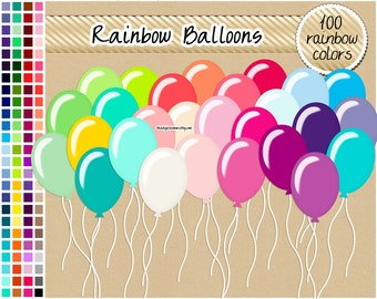 SALE 100 balloon clipart rainbow balloon clipart birthday digital paper clipart party printable birthday graphics balloon planner sticker