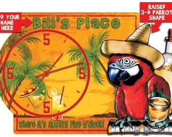 "Tiki Bar ""Always Five O'clock"" Personalized 3-D Hardboard Wall Clock"
