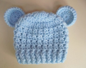 Baby bear hat Blue bear hat Baby bear beanie Blue newborn hat Baby boy hat Newborn boy hat Crochet newborn hat Teddy bear hat