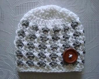 Newborn boy hat, crochet baby hat, hospital hat boy, baby boy hat, button baby hat, crochet newborn hat,  boy newborn hat