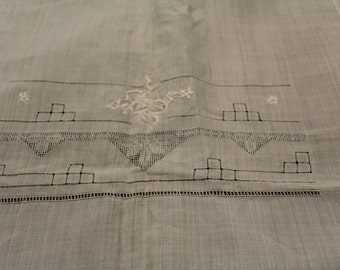 Beautiful White Linen Table Cloth