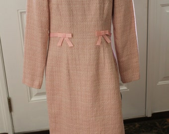 Vintage Chadwick's Pink Tweed Dress with Bows
