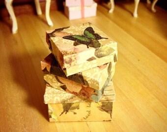 DOLLHOUSE STORAGE BOXES, handmade vintage 1:12 storage boxes