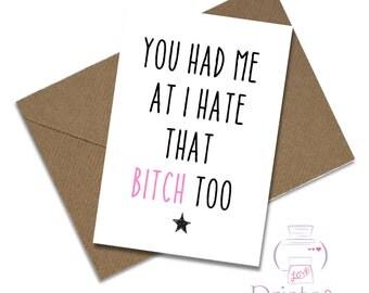Funny best friend birthday card lgbt joke bitch humour adult mature