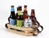 Six Pack Carrier - Wood and Leather Beer Holder