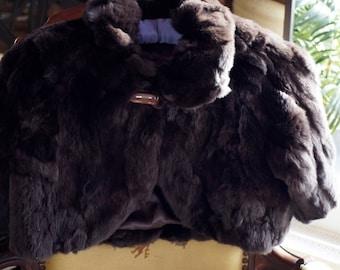 Ref: 150 - SALE ~ PELLESSIMO Silver -  Brown Rex rabbit fur bolero/jacket. Size M.