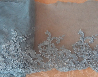 Wholesale lot   14yards grey (light blue)    flower embroidered  Lace Trim DIY Sewing dress  20cm  8inch