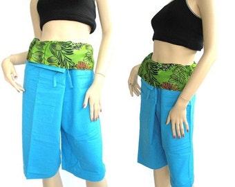 3/4 fisherman pants patchwork fold over fisherman pants   pants yoga spa pants maternity pants exercising pants....PDK#0156
