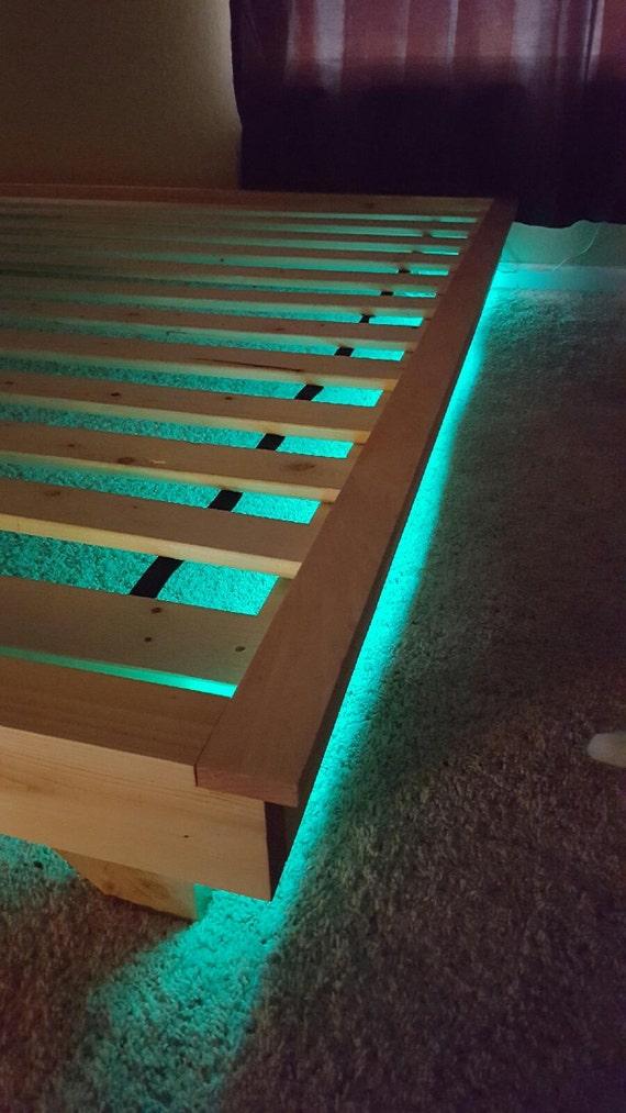 Platform bed with led lights low profile bed with built in for Lighted platform bed