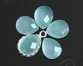 1pcs 10x8mm Natural Aqua Chalcedony Cabochon, DYED, Pear Shape Cabochon, Checkerboard Cut, Teardrop, Natural Gemstone, Aqua Blue Color